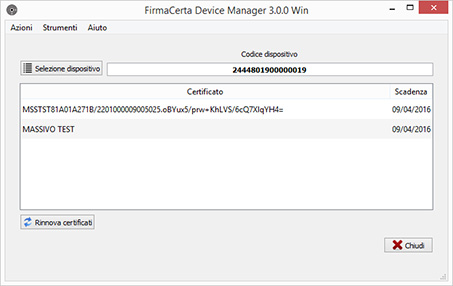 Software FirmaCerta Device Manager
